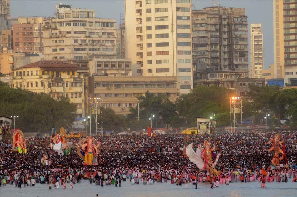 Ganesh immersion underway at Girgaum sea beach in Mumbai