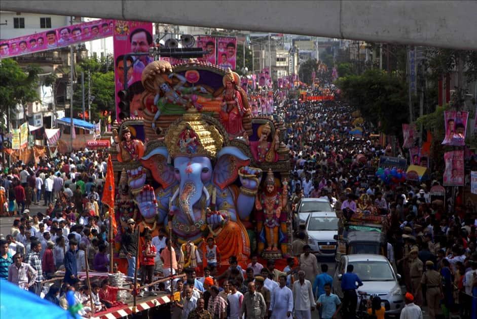 A Ganesh idol being taken for immersion in Hyderabad.