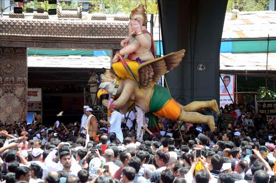 A Ganesh idol being taken for immersion in Mumbai.