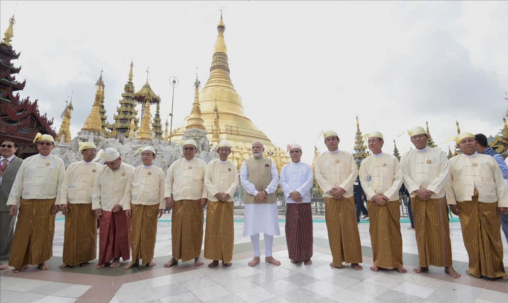 Narendra Modi visits the Shwedagon Pagoda, in Yangon