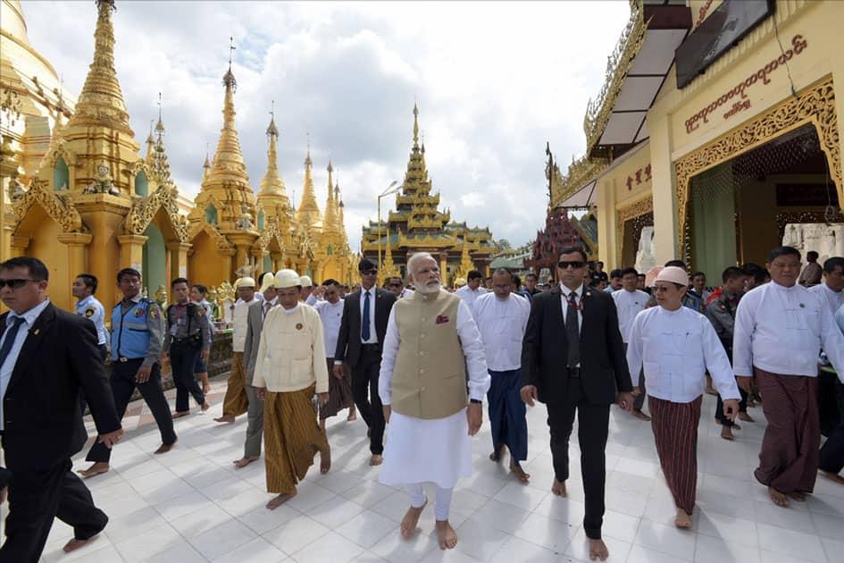 Prime Minister Narendra Modi visits the Shwedagon Pagoda, in Yangon, Myanmar