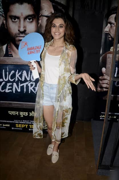 Actress Taapsee Pannu during the special screening of upcoming film Lucknow Central