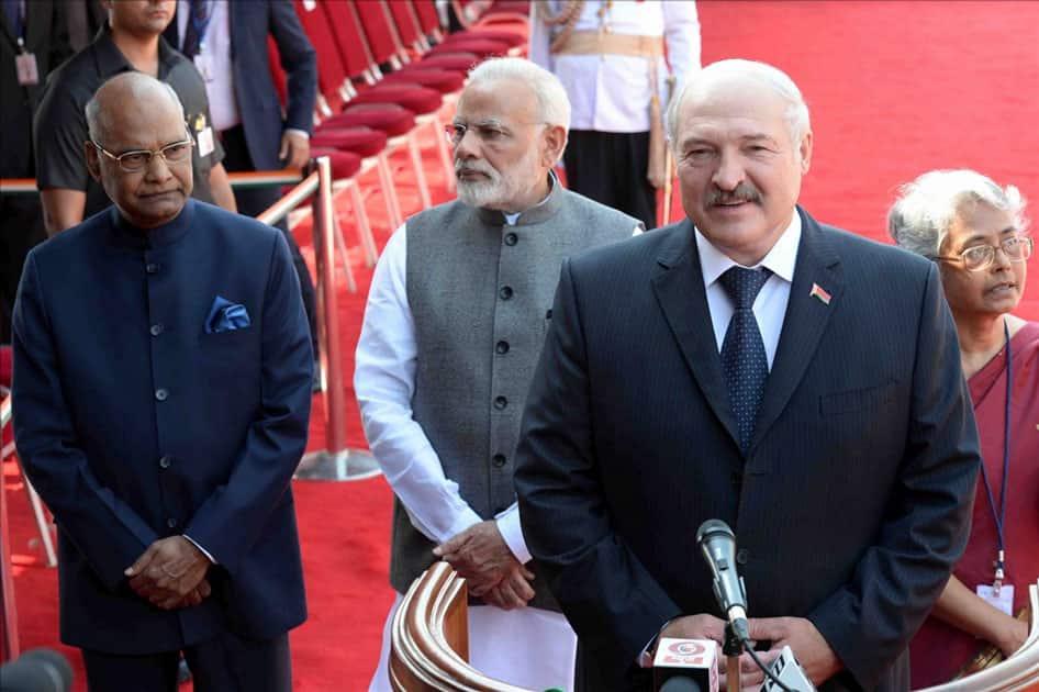 Alexander Lukashenko, President of the Republic of Belarus addressing the media