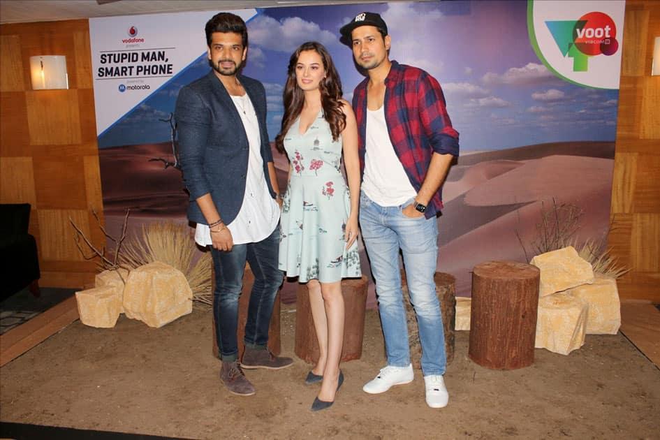 Actors Karan Kundra, Evelyn Sharma and Sumeet Vyas during the interview of Web-series