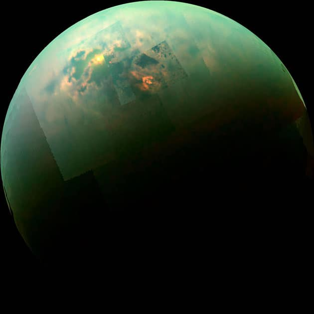 This near-infrared, color mosaic from NASA's Cassini spacecraft shows the sun glinting off of Titan's north polar seas