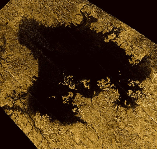 Ligeia Mare, shown here in a false-color image from NASA's Cassini mission, is the second largest known body of liquid on Saturn's moon Titan