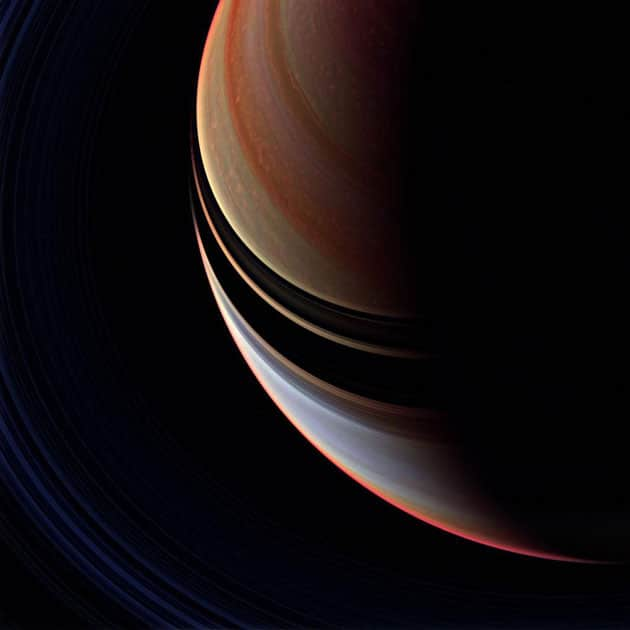 This enhanced false color view is a departure from the familiar bluish north and golden south seen in natural color Cassini spacecraft images