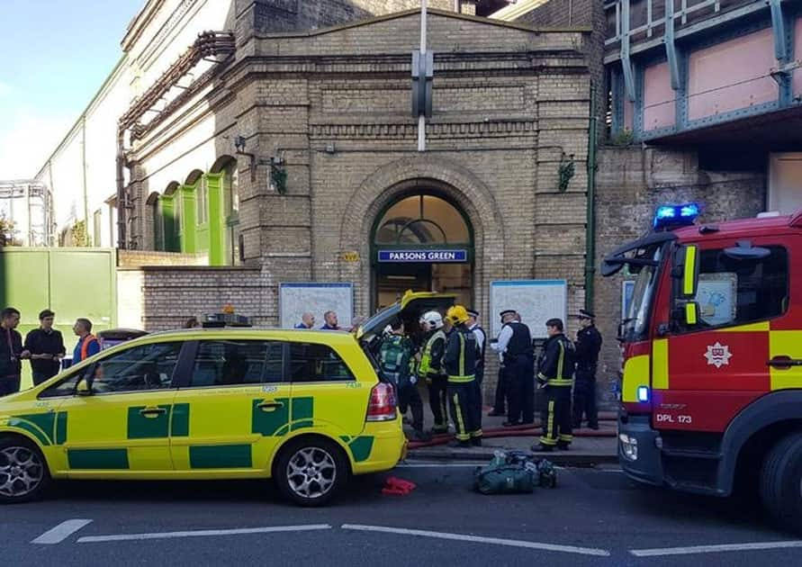 Emergency services attend the scene following a blast on an underground train at Parsons Green station in West Londo