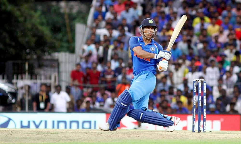MS Dhoni in action during the first ODI cricket match