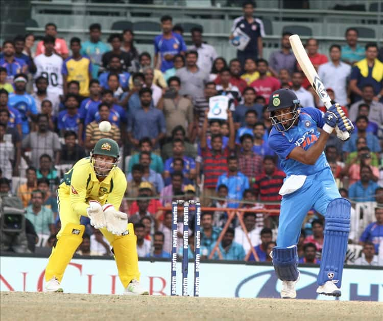 Hardik Pandya in action during the first ODI cricket match