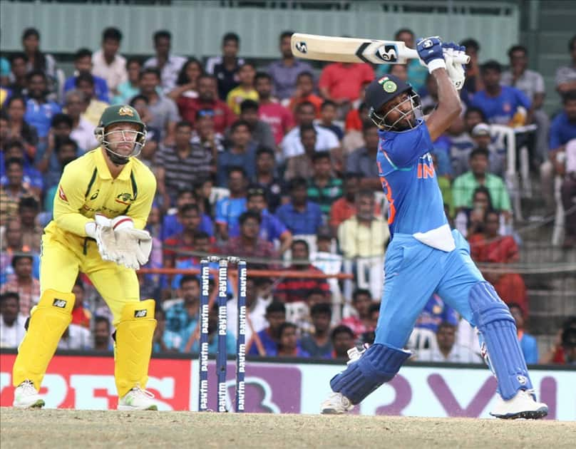 India's Hardik Pandya in action during the first ODI