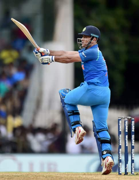 India's MS Dhoni in action during the first ODI cricket match between India and Australia