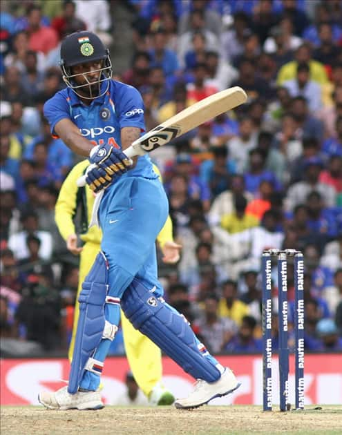 Hardik Pandya in action during the first ODI cricket match between India and Australia