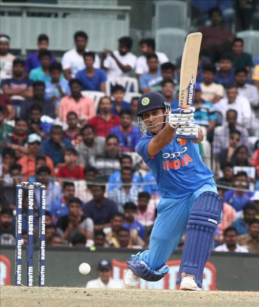 MS Dhoni in action during the first ODI cricket match between India and Australia at MA Chidambaram Stadium