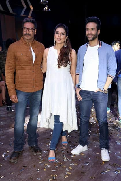 Actors Ajay Devgan, Tabu and Tusshar Kapoor during the promotion of their upcoming film