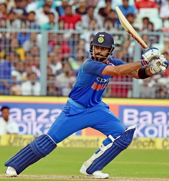 Indian captain Virat Kohli in action during the 2nd ODI cricket match against Australia at Eden Garden in Kolkata.