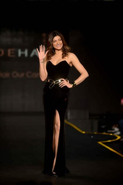 Actress Sushmita Sen at the launch of a hair care brand in New Delhi
