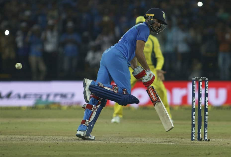 India's Manish Pandey in action during the third ODI cricket match between India and Australia at Holkar Cricket Stadium in Indore