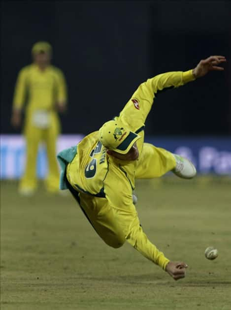 Australian skipper Steve Smith in action during the third ODI cricket match between India and Australia at Holkar Cricket Stadium in Indore.