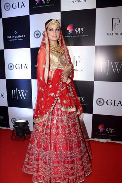Actress Dia Mirza during the 7th edition of India International Jewelry Week (IIJW 2017) in Mumbai.