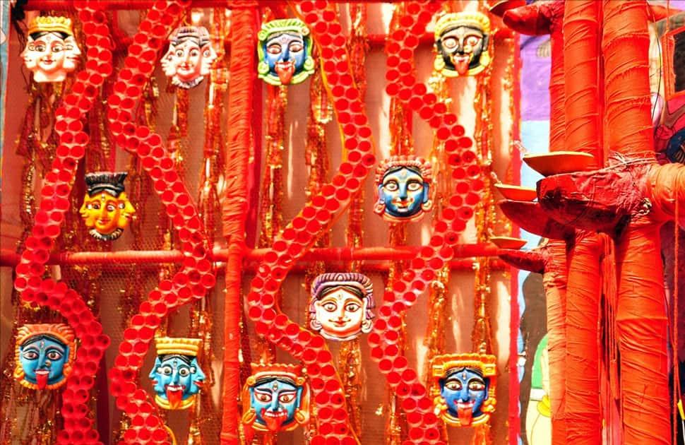 A view of Baghajatin Tarun Sangha pandal during Durga Puja in Kolkata.