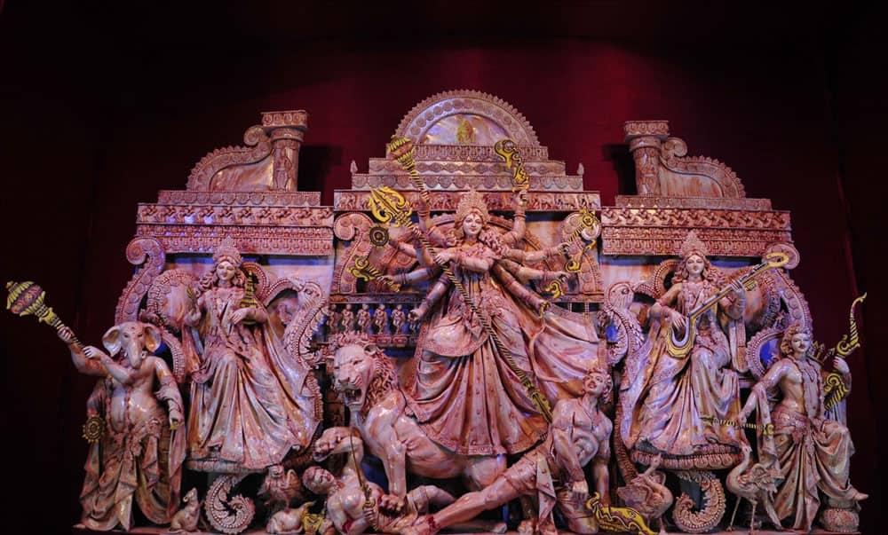 A view of Garia Sreerampur Kalyan Samity pandal during Durga Puja in Kolkata.