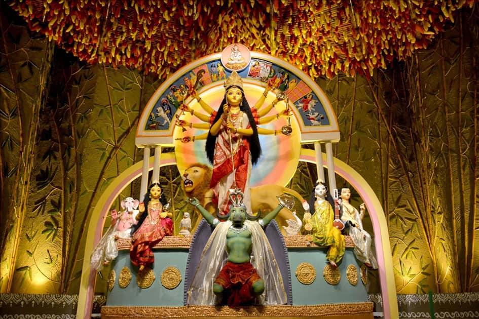Decorations at the Suruchi Sangha club pandal during Durga Puja in Kolkata.