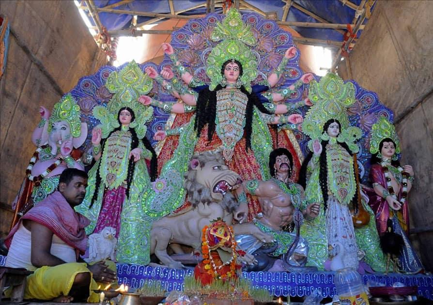 Decorations at the Nala Road Pandal ahead of Durga Puja in Patna