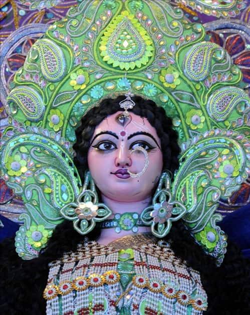 Decorations at the Nala Road Pandal ahead of Durga Puja in Patna.