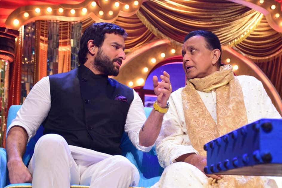 Actor Saif Ali Khan with Mithun Chakraborty during promotion of his upcoming film