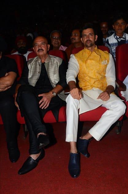 Actors Hrithik Roshan and Rakesh Roshan during the celebration of Basanti Chola Diwas - 100th Birth Anniversary Of Bhagat Singh in Mumbai.
