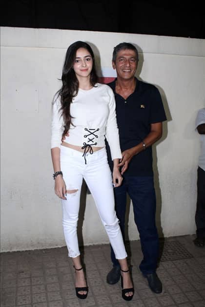 Actor Chunky Pandey along with his daughter Ananya Pandey during the special screening of film
