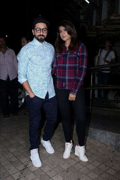 Actor Ayushmann Khurrana along with his wife Tahira Kashyap during the special screening of film