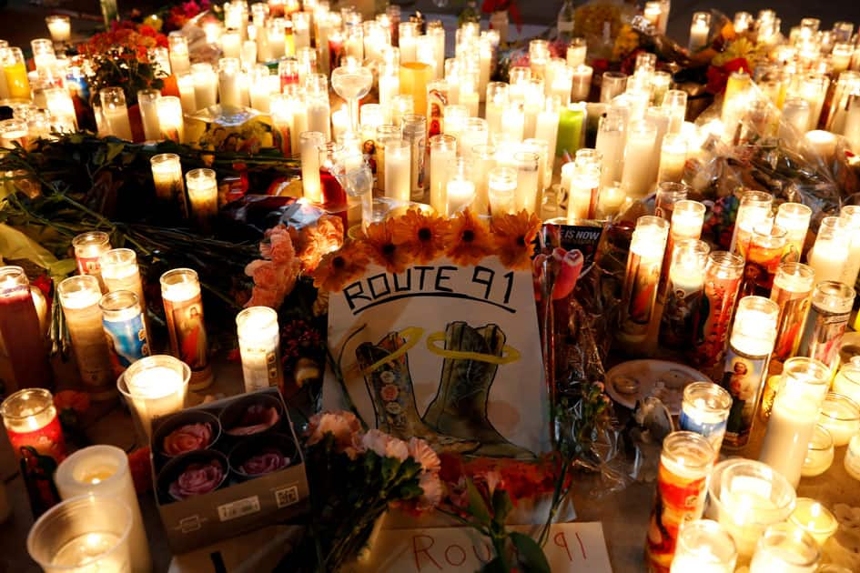 A candlelight vigil is pictured on the Las Vegas strip following a mass shooting at the Route 91 Harvest Country Music Festival in Las Vegas.