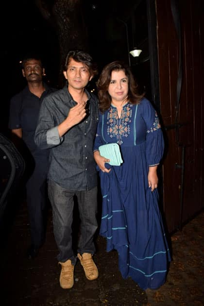 Director Farah Khan along with her husband Shirish Kunder during the celebration of