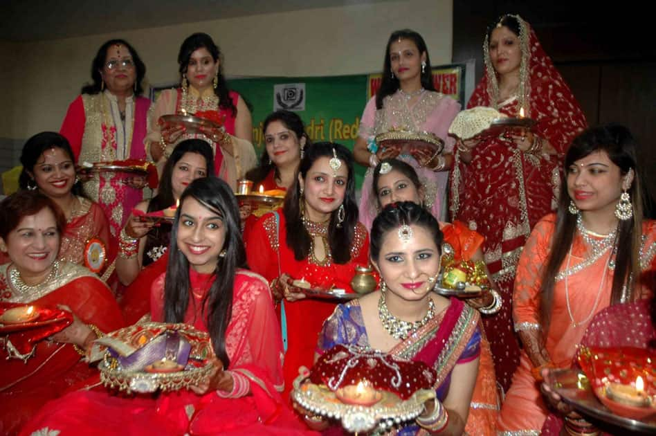 Women celebrate Karva Chauth in Patna.