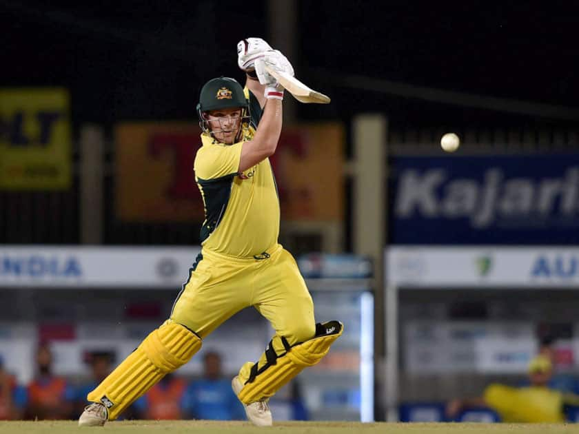 Australian batsman Aaron Finch plays a shot during the 1st T20 cricket match between India and Australia in Ranchi.