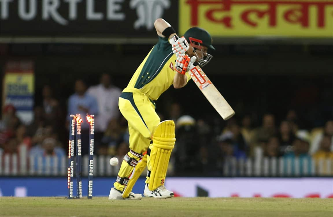 David Warner of Australia in action during a T20 match between India and Australia at JSCA International Stadium in Ranchi.