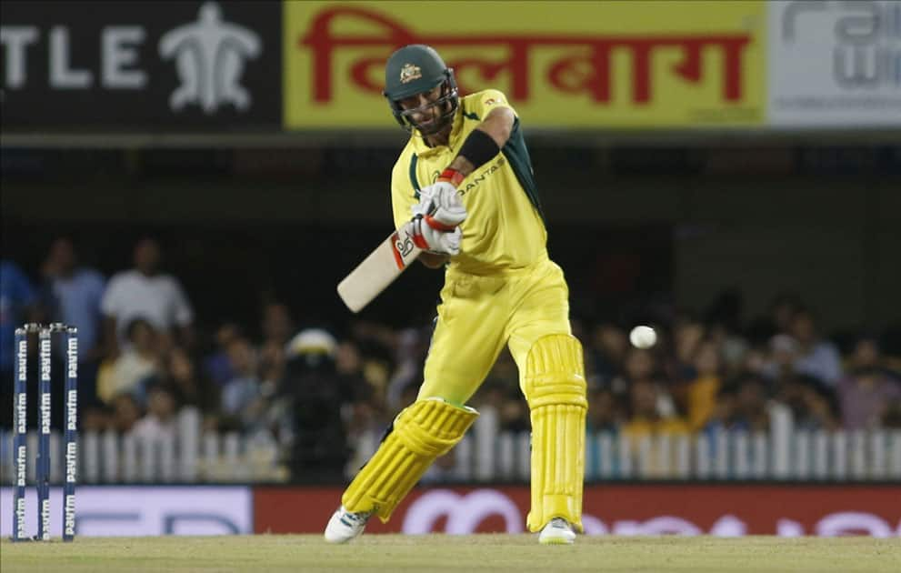 Glenn Maxwell of Australia in action during the first T20 match between India and Australia at JSCA International Stadium in Ranchi.