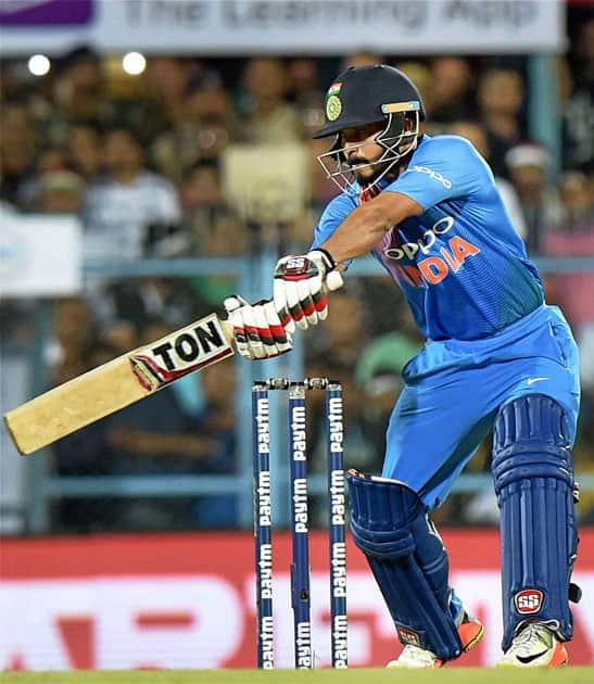 India's Kedar Jadhav in action during the second T20 cricket match against Australia in Guwahati.