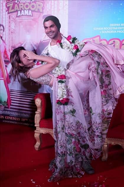 Actors Kriti Kharbanda and Rajkummar Rao during the trailer launch of their upcoming film