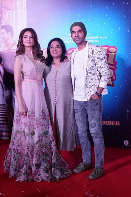 Actors Kriti Kharbanda, Rajkummar Rao and Director Ratnaa Sinha during the trailer launch of their upcoming film
