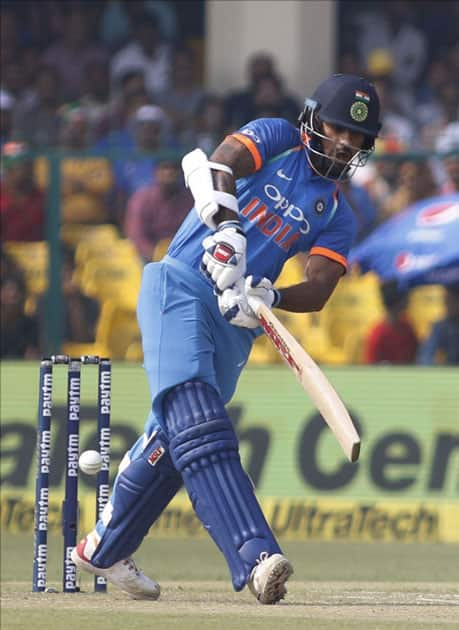 Shikhar Dhawan of India in action during the third ODI match between India and New Zealand at Green Park Stadium in Kanpur.