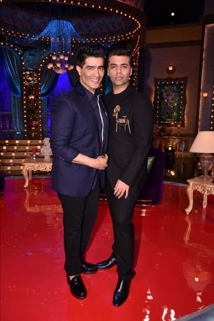 Fashion Designer Manish Malhotra and Director Karan Johar on the sets of live game show