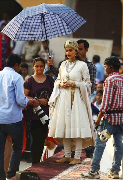 Actress Kangana Ranaut during shooting of her upcoming film