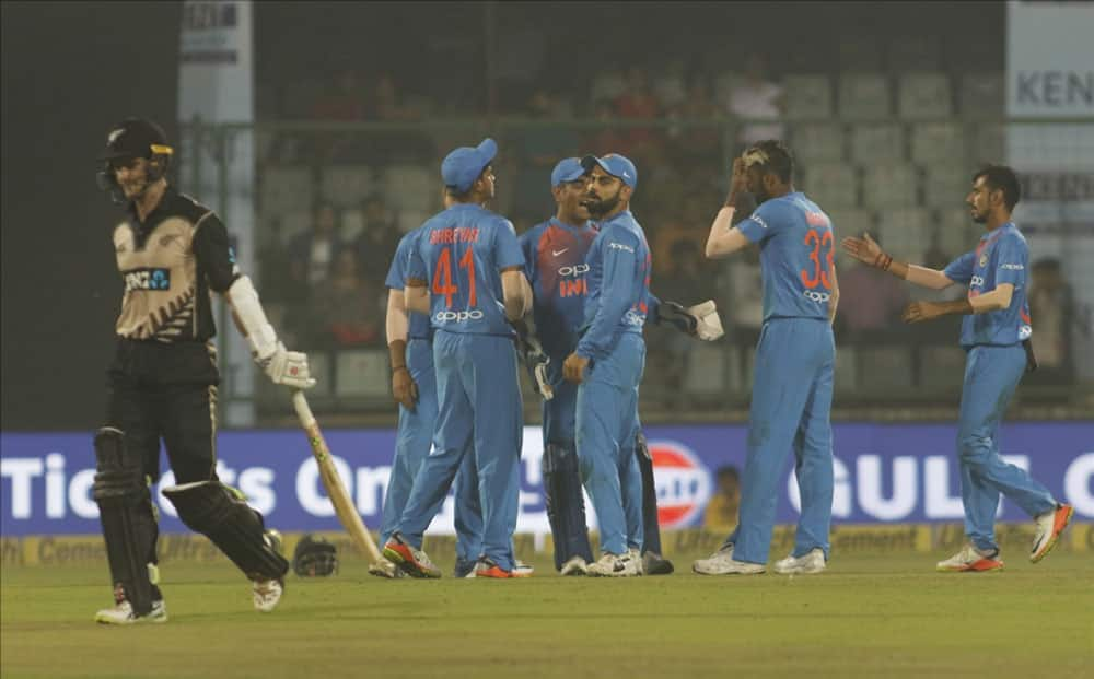 Hardik Pandya of India celebrates fall of Kane Williamson's wicket during the first T20 match between India and New Zealand at Feroz Shah Kotla stadium in New Delhi.