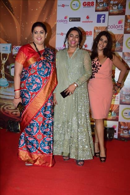 Union Information and Broadcasting Minister Smriti Irani, President-The Indian Television Anu Rajan and Producer Ekta Kapoor at the red carpet of ITA Awards in Mumbai.