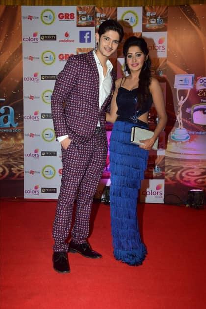 Actors Rohan Mehra and Kanchi Singh at the red carpet of ITA Awards in Mumbai.