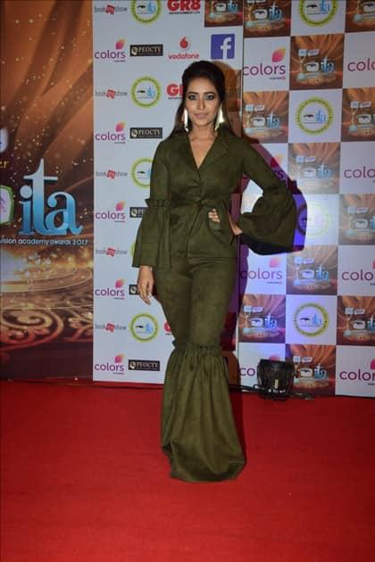 Actress Asha Negi at the red carpet of ITA Awards in Mumbai.