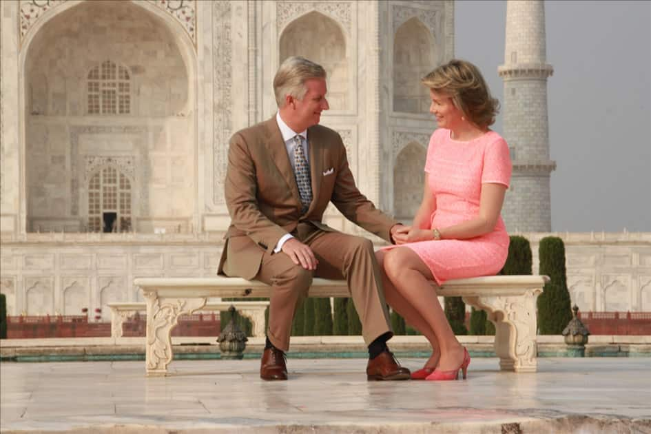 Belgian Royal couple King Philippe and Queen Mathilde pose in front of Taj Mahal in Agra.